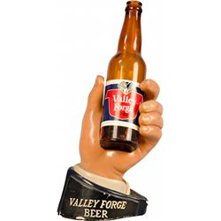 Valley Forge Beer Figural Hand Countertop Advertisement