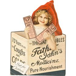 "Antique ""Father John's Medicine"" Die-Cut Easel Back Ad"