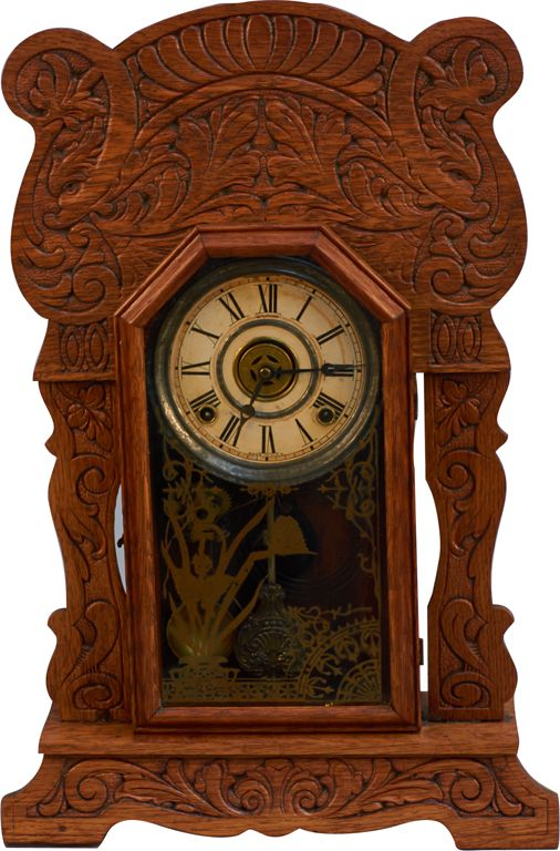 Early Sessions Oak Kitchen Mantel Gingerbread Clock