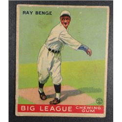 1933 Goudey baseball card #141 BENGE VGEX Book value $165