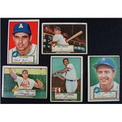 5 1952 TOPPS---Hermanski #16,Bucha rookie #19,Goodman #23,Valo #34,Wellman #41
