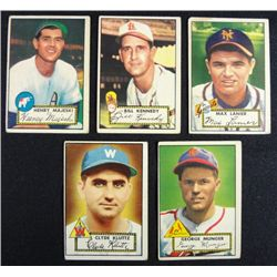 5 1952 TOPPS---Lanier #101,Kennedy #102,Majeski #112,Munger #115,Kluttz  rookie
