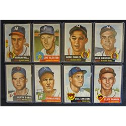 8 1953 TOPPS--- Dark #109,McGhee #195,Sawatski #202,Fannin #203,Bruton rookie