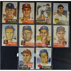 10 1953 TOPPS-#136,137,139,169,170,171,173,175,176,177