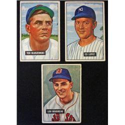3 1951 Bowman stars:  #62 Boudreau-#143 Kluszewski-#218 Lopat  VG  Book value $2