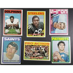 6  1972 Topps football cards NMNT  NICE  # 65 Plunkett-55 Manning-93 Hendricks-