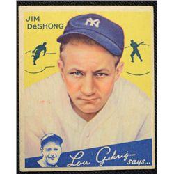 1934 Goudey baseball card #96  DeSHONG  VGEX Book value $525