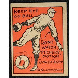 Schutter-Johnson Candy Co. Major League Secrets baseball card #17  CHUCK KLEIN's