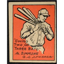 Schutter-Johnson Candy Co. Major League Secrets baseball card #1  AL SIMMONS BAT