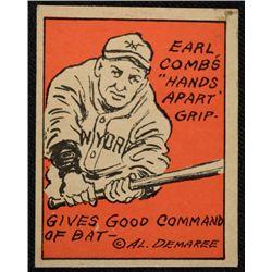 Schutter-Johnson Candy Co. Major League Secrets baseball card #28  EARL COMBS'