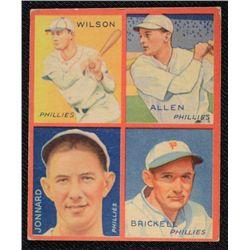 1935 GOUDEY baseball card WILSON-ALLEN-JONNARD-BRICKELL   VG   BOOK VALUE $125