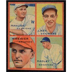 1935 GOUDEY baseball card MANUSH-LARY-M WEAVER-HADLEY   VG   BOOK VALUE $300
