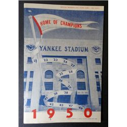 1950 YANKEES OFFICIAL PROGRAM AND SCORE CARD
