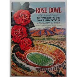 1961 ROSE BOWL PROGRAM MINNESOTA vs WASHINGTON