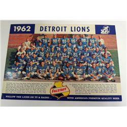 1962 FALSTAFF TEAM PHOTO DETROIT LIONS SCHEDULE