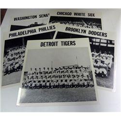 1956 GROUP OF LARGE B&W PHOTOS TIGERS, PHILLIES, SENATORS, WHITE SOX & 55 DODGER