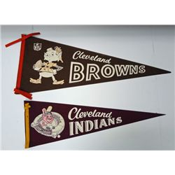 2- 1950's CLEVELAND PENNANTS INDIANS & BROWNS