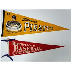 2-1950's BASEBALL PENNANTS PIRATES & COOPERSTOWN