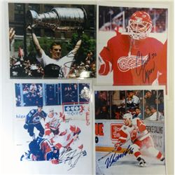 5 DETROIT RED WINGS AUTOGRAPHS ON 4-8X10 PHOTOS