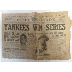 1923 NEWSPAPER RUTH HITS HOMER IN FIRST INNING