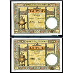 Banque de L'Indochine, ND (1936-39) Sequential Issue Pair.