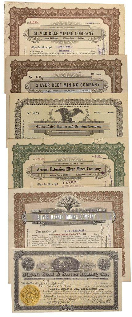 Stock Certificate Arizona Extension Silver Mines Company