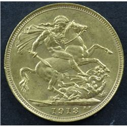 Australian Sovereign 1913S Gem Unc