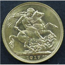 Australian Sovereign 1917M Choice Unc