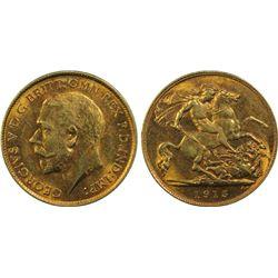 Australia Half sovereign 1915 M , PCGS AU58