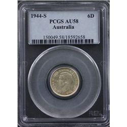 1944S Sixpence PCGS AU58