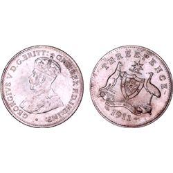 1911 Threepence PCGS MS63