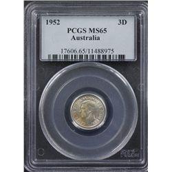 1952 Threepence PCGS MS65