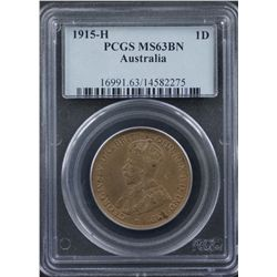 1915 H Penny PCGS MS63 Brown