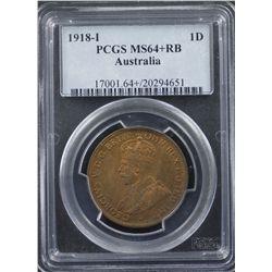 1918 Penny PCGS MS64 RB Plus