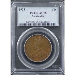 1925 Penny PCGS AU55