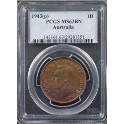 1943 P Penny PCGS MS63 BN