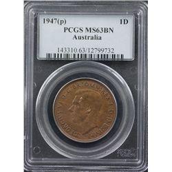 1947 P Penny PCGS MS63 BN