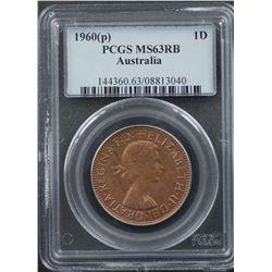 1960 P Penny PCGS MS63 RB