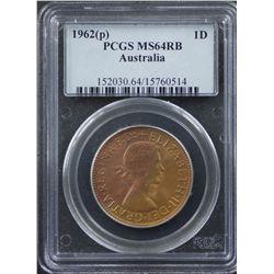1962 P Penny PCGS MS64 RB