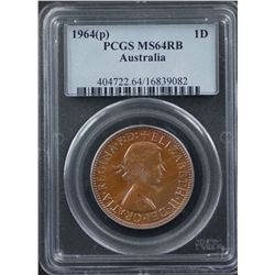 1964 P and 1964 M Pennies PCGS MS64 Red , RB