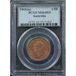 1943 M Halfpenny PCGS MS64 Red