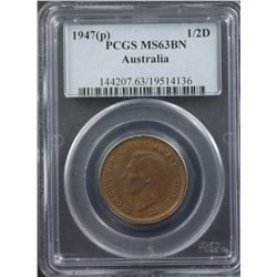 1947 Half Penny PCGS MS63 BN