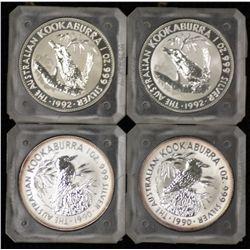 One Ounce Silver Kookaburras 1990 x 2, 1992 x 2