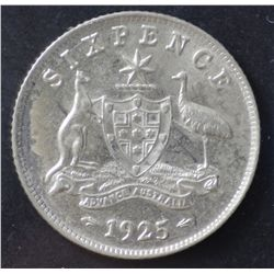 1924 Sixpence VG, 1925 Sixpence VF, 1936 Sixpence EF and 1934 Sixpence gVF