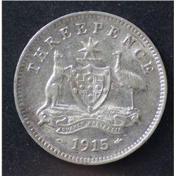1915 Threepence Scarce Date