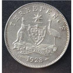 1923 Threepence VF, 1925 EF, 1926 EF, 1927 EF