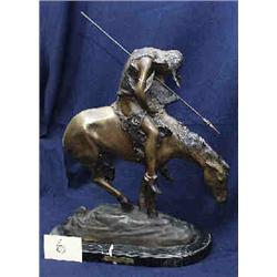 """1 BRONZE-SLEEPING INDIAN ON OF """"END OF THE BY J. FRASER. 13""""W X 18""""H. WITH ADDED BASE...."""