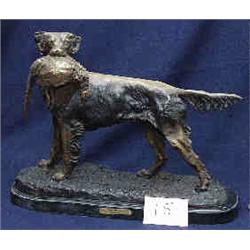 """1 BRONZE-HUNTING DOG HOLDIN IN MOUTH. RECAST OF & PHEASANT"""" BY J.MOIGUIEZ. 20""""W X 15""""H. WITH MARB..."""