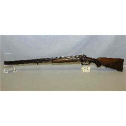 1 GERMAN ANTIQUE OVER & SHOTGUN/RIFLE WITH HAMMERS AND ELABORATE ENGRAVING INCLUDING RABBITS, FLO...