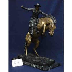 """1 BRONZE-COWBOY ON BUCKING HORSE OF FREDERICK REMINGTON. X 20""""H. WITH ADDED MARBLE BASE...."""